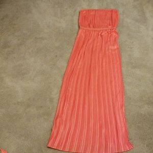 BCBG MaxAzria Mateo coral woven evening dress
